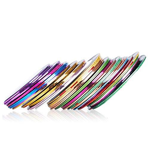 SENDILI 20 Rollos Cintas para Uñas Decoracion - Arte Cinta Adhesiva Uñas Striping Línea Utensilios y Accesorios Para la Belleza, 20 Rollos