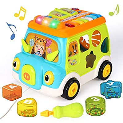 REMOKING Multifunctional Musical Car Toy, STEM Music Toy Truck with Light and Music, Educational Piano Instrument Shape, Cute Early Educational Training Toy, Great Gifts for Toddlers 18 Months and up
