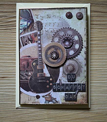 3D Karte Grußkarte Gitarre Vintage inkl. Umschlag - Handarbeit