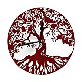 Not Applicable Oak Tree Home Decor Reloj de Pared Redondo Silencioso sin tictac Funciona con Pilas para Comedor Sala de Estar Cocina Dormitorio