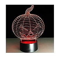 パンプキンライト ハロウィーンカボチャ3dデスクランプカラフルなビジョンステレオアクリル3DナイトライトタッチUsb 3dテーブルランプ プラスチック