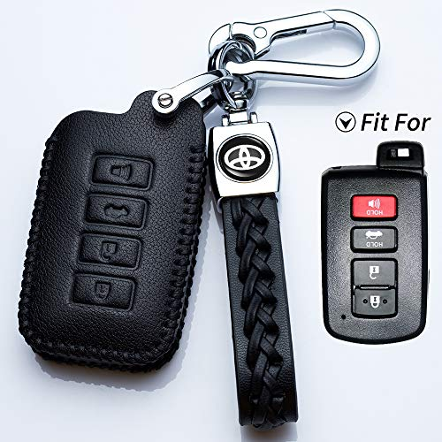 Hey Kaulor for 4buttons Soft Leather Key Fob Cover Remote Case Keyless Protector Jacket for 2016 2015 2014 Toyota Avalon Camry Corolla RAV4 Highlander