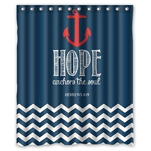 Navy Chevron Hope Anchor The Soul Waterproof Bathroom Fabric Shower Curtain 60x72 inches