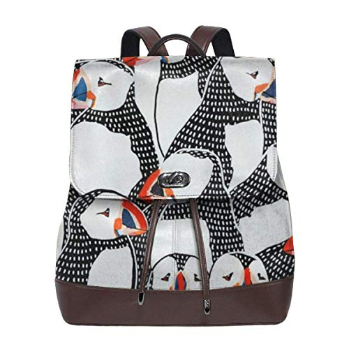 Flyup Puffin Drawing Women Leather Backpack for Travel Shopping Casual Laptop Fashion Bag Mochila de cuero para mujer