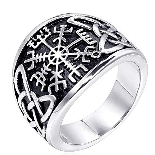 Brújula retro nudo celta anillo de runas para hombres/mujeres, mitología nórdica gótico pagano personalizar amuleto de joyería, oro/plata
