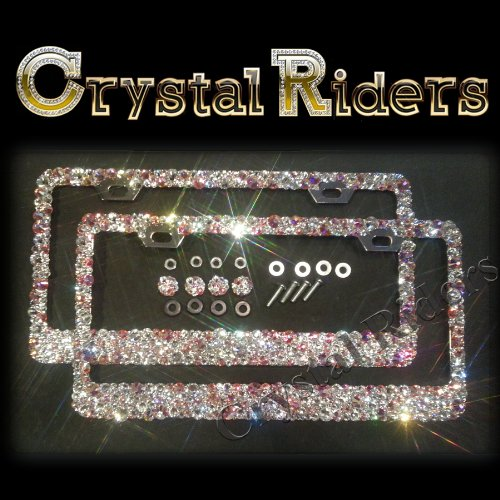 PAIR OF 2 1500 SWAROVSKI Bling License Plate Frame with Crystals Ab Iridescent Clear Metal Chrome Zink Alloy Holder Sparkly Sparkle Custom Hand Made Hand Crafted SET screw caps cover anti theft