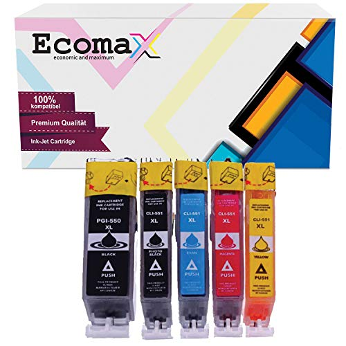 Ecomax 5 Multipack Druckerpatronen kompatibel für Canon PGI-550 XL CLI-551 XL für Canon Pixma MG5650 MG5450 MG5550 MG6450 IP7250 IP8750 MX725 MX925