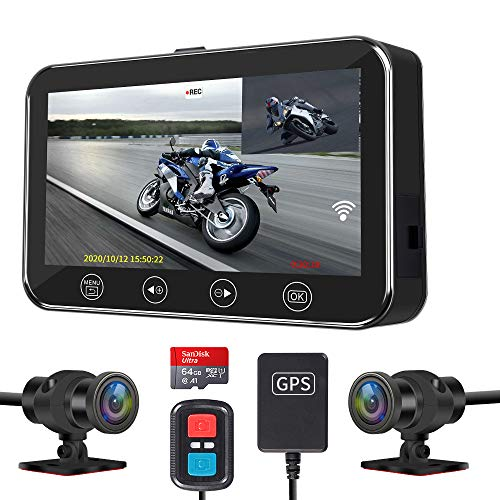 Motorcycle Dashcam VSYSTO Motorcycle Video Driving Recorder Dual 1080P 170° Angle Sportbike...