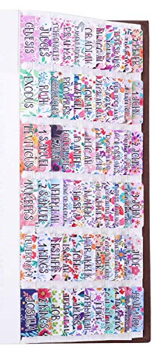 Floral Bible Tabs Laminated with Matte Film, Large Print Easy to Read, Cute Bible tabs for Women and Girl, 90 Bible Index tabs in Total, 66 tabs for Old and New Testament, Additional 24 Blank tabs