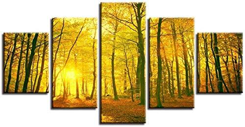 5 pinturas consecutivas lienzo cuadros artísticos de pared decoración del hogar 5 piezas sol dorado amarillo bosque otoño pinturas modulares HD impresiones paisaje cartel