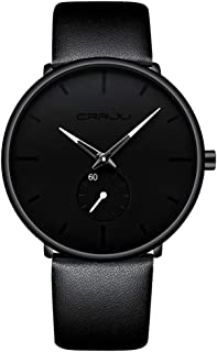 FIZILI Mens Watches Ultra-Thin Minimalist Waterproof-Fashion Wrist Watch for Men Unisex Dress with Leather Band