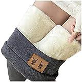 Collant da donna, caldo, invernale, foderati, leggings in pile, pantaloni opachi, ideali per il tempo libero, pantaloni elasticizzati, resistenti al freddo, pantaloni termici, #9 grigio., L