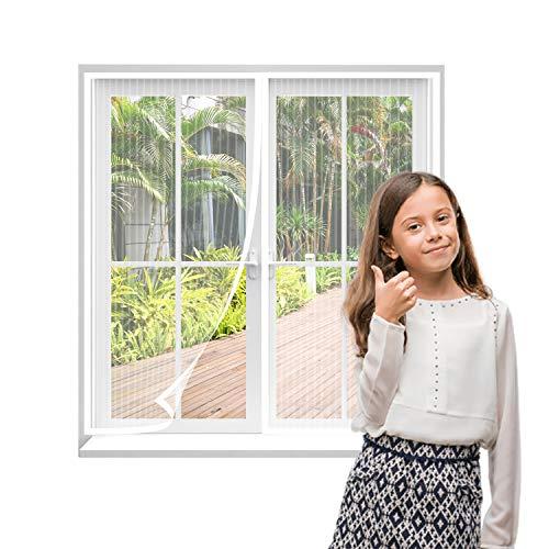 AMCER Mosquitera Magnética para Puertas 160x200cm, Magnetica Corredera Cortina, Cerrado automáticamente Plegable Cortina Magnética para Pasillos/Puertas - Blanco