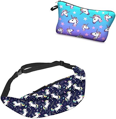 Giddah Waistbags für Frauen Einhorn & Flamingo Mode Hip Bum Taschen mit Reißverschluss Flach Reisen Sport Hüfttasche (Galaxy Horn)