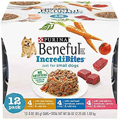 Purina Beneful Small Breed Wet Dog Food Variety Pack, IncrediBites - (2 Packs of 12) 3 oz. Cans