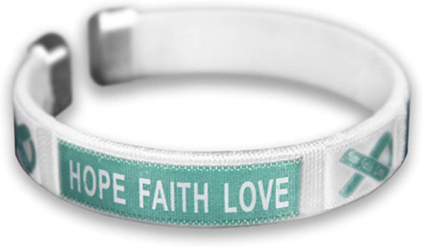 Fundraising For A Cause Teal Ribbon Fabric Bangle Bracelet - Hop