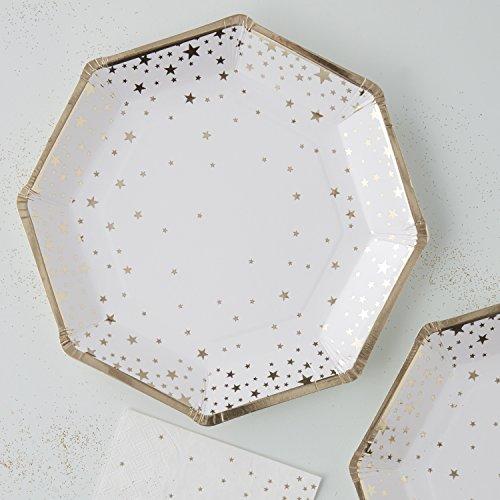 Ginger Ray Lot de 8 assiettes en papier Motif étoiles Doré