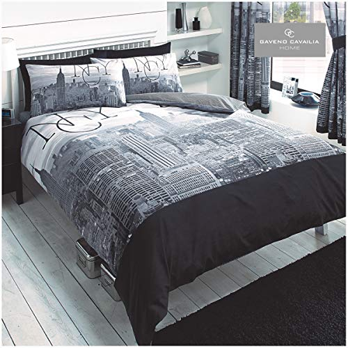 Gaveno Cavailia Luxurious NYC Bed Set with Duvet Cover and Pillow Case, Polyester-Cotton, Grey/Black, Double
