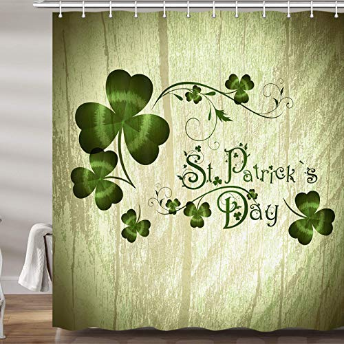 JAWO St Patrick's Day Shower Curtain Celtic Irish Clover Shamrock Celebration Waterproof Bathroom Decor Polyester Fabric Bath Curtains, Hooks Included, 69X70 Inches