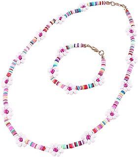 Beaded Choker Necklaces Rainbow Flower Colorful Necklaces Bracelet Vsco Boho Beach Necklace Handmade Flower Necklace Cute ...