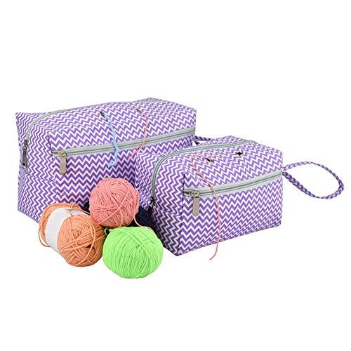 Katech Bolsa de almacenamiento para lana, bolsa de punto para guardar agujas de ganchillo, agujas de...
