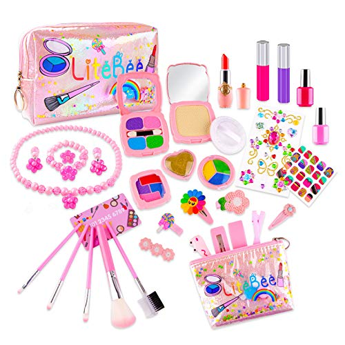 Xruison Kinderschminke Set Mädchen 35 Stück Waschbar Schminkset Kinder Schminkkoffer Kosmetikset Mädchen Kinder Makeup-Set Rollenspiel Spielzeug Geschenk