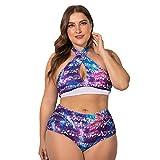 Wellwits Women's Plus Side Galaxy Music Note Print Cross Halter Bikini Swimsuit L Purple