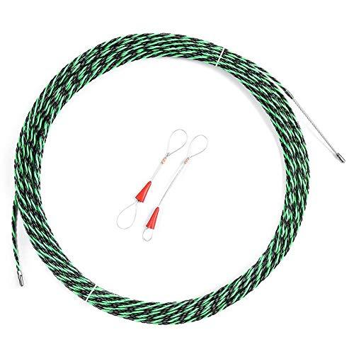 Fayella Glasfaserkabelabzieher, 5-40 m 5 mm grünes Führungsgerät Glasfaser-Elektrokabel-Druckzieher Kanalschlangen Rodder FischbanddrahtZwei Kabelspanner, 10 m