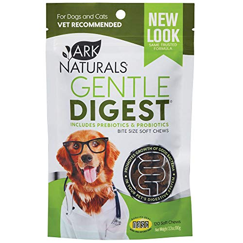 Ark Naturals Gentle Digest Soft Chews, Vet Recommended Dog and Cat Prebiotics and Probiotics, Digestive and Immune System Support, 120 Count