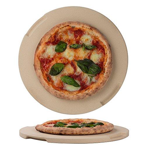 ROCKSHEAT Pizzastein Brotbackstein, 32 cm, runder Stein für Ofen und Grill, innovatives doppelseitiges integriertes Design mit 4 Griffen