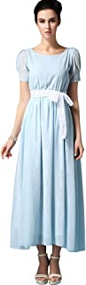 Sheicon Women's Short Sleeve Square Neck Long Maxi Fit and Flare Chiffon Lace Dress