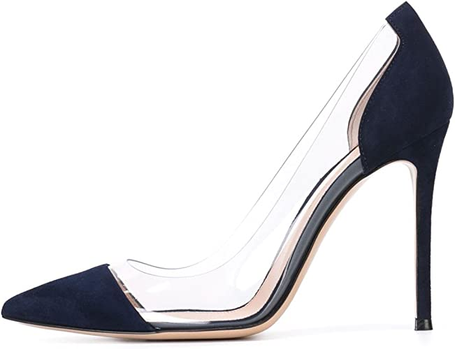 DYF Chaussures Femmes Nue, de Pointes Fines,Bureau Transparent Haut Talon 10 cm,43,Peluche Bleu foncé