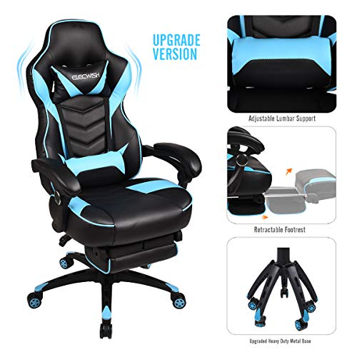 Video Gaming Chair Racing Office - Reclining PU Leather High Back Ergonomic Adjustable Swivel Executive Computer Desk Large Size Footrest Headrest Lumbar Support Adjustable arms Cushion (Sky Blue) blue chair gaming