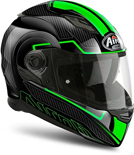 Airoh Movement-s Faster - Casco integral (talla M), color negro y verde
