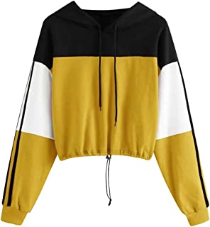 Aunimeifly Women Zip High Neck Sweatshirt Color Block Splcing Pullover Ladies Long Sleeve Tops Casual Blouse