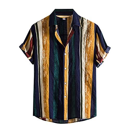 Camisa de verano para hombre, de manga corta, con botones, bolsillo frontal, estilo vintage B_amarillo. L