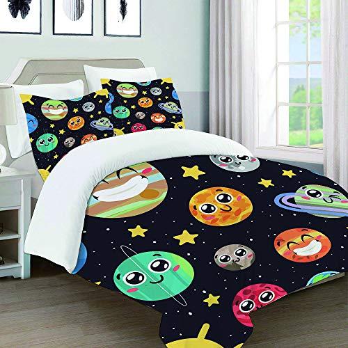 UFICTTFJ Juego de Funda nordica,Ropa de Cama,Funny Cartoon Smiley Sun Moon Pluto and Planets On Space,Microfibra,Edredon 140x200cm con 2 Fundas de Almohada 50x80cm