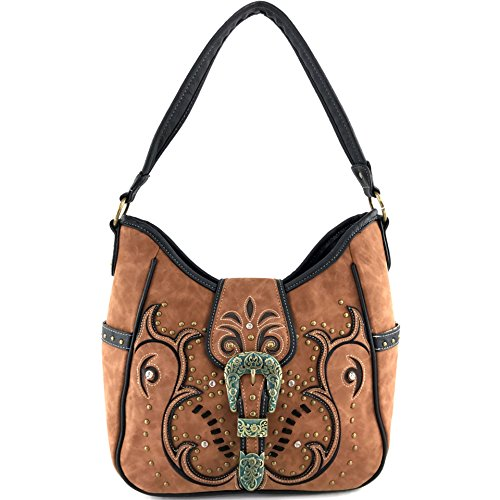 Justin West Tooled Laser Cut Leather Floral Embroidery Rhinestone Buckle Studded Shoulder Concealed Carry Tote Style Handbag Purse (Tan Purse)