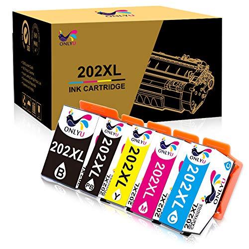 ONLYU Sostituzione Cartuccia d'inchiostro Compatibile per Epson 202XL 202 XL per Epson Expression Premium XP-6000 XP-6005 XP-6001 Xp-6100 Stampante (1Nero 1Foto Nero 1Ciano 1Magenta 1 Giallo)