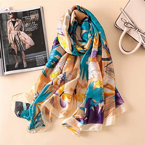 Vcnhln Primavera otoño Bufanda señoras Estampado Chal Elegante Protector Solar cálido Toalla de Playa Bufanda Gasa Hijab