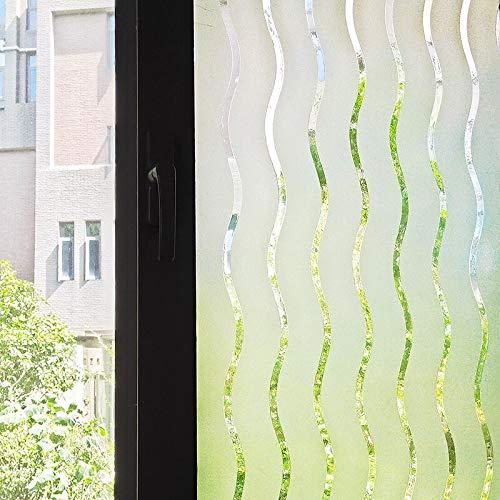 LMKJ Película para Ventanas con patrón de Rayas onduladas sin Pegamento decoración estática privacidad película para Ventanas de hogar y Oficina A106 60x100cm