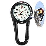 GORBEN Carabiner FOB Watches Luminous Dial Quartz Belt Clip Watch Ideal for Doctors Nurses Paramedics