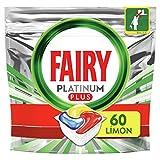 Fairy Platinum Plus Todo en Uno Limón, Cápsulas para lavavajillas, 60 Cápsulas - La mejor limpieza de Fairy para vajillas como nuevas, elimina la opacidad y previene la cal