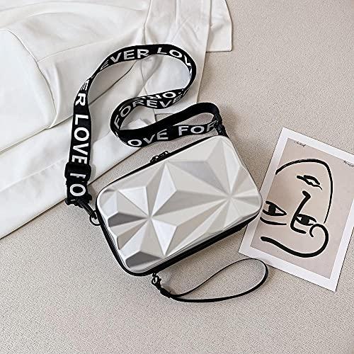 FWJSDPZ Fashion Suitcase Shape Women Small Shoulder Messenger Bags Casual Wide Letters Strap Sling Bag Ladies Solid Color Crossbody Bags (Color : Silver)