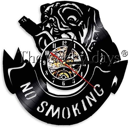 ZZNN Reloj de Pared de Vinilo, Pieza de Reloj de Bulldog, Reloj de Pared de Perro pequinés, Luces de Vinilo Vintage prohibidas para Amantes de los Perros y Animales
