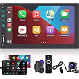 Radio de Coche 2 DIN Apple CarPlay y Android Auto - Estéreo Reproductor de Coche con Pantalla táctil de 7 Pulgadas MP5 - Mirror Link, Bluetooth, Radio FM con cámara de visión Trasera AHD y micrófono