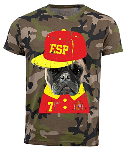 aprom Spanien T-Shirt Camouflage NC Mops Dog Hund Trikot Spain (S)