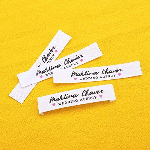 Kundenspezifische Bekleidungsetiketten, personalisierte Marke, Bio-Baumwollbandetiketten, Logo oder Text, kundenspezifisches Design, schnelle Lieferung (MD0417), 100 Stück