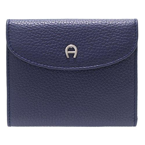 Aigner quadratische Geldbörse Portemonnaie Portmonee - 12x10x2cm (B x H x T) (Blau)