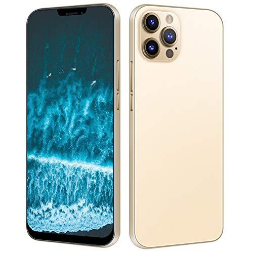 Fockety i12 Pro MAX Smartphone, 6,7-Zoll-HD + -Bildschirm-Smartphone mit 6 + 64 GB RAM, 16 MP + 13 MP Pixel, rückseitiger Verlaufsabdeckung, Standby-Handy mit Zwei Karten und 128 GB Speicherkarte(EU)